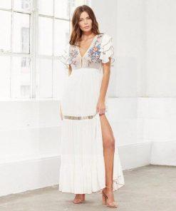 Weißes Hippie langes Kleid