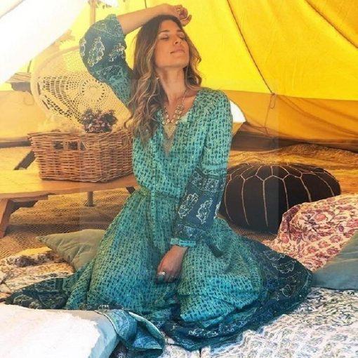 Türkisfarbenes Hippie Kleid