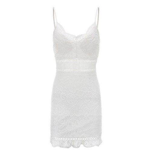 Weißes Spitzenkurzkleid im Hippie Stil